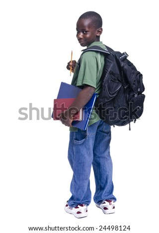 A young african american student ready for school