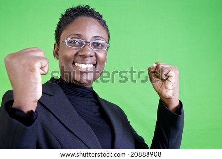 A young African American woman with a gesture of enthusiastic approval.