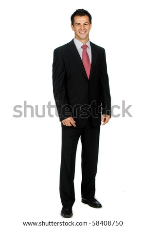 A young and attractive businessman standing against white background