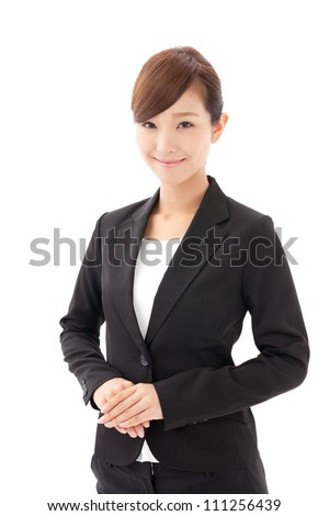 a young asian businesswoman on white background