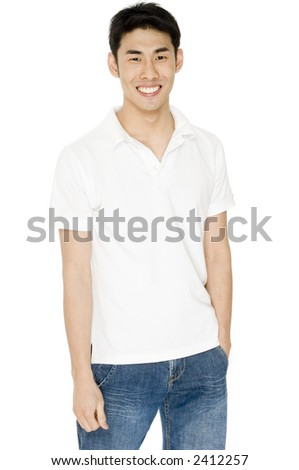 A young asian male adult in white t-shirt and jeans on white background