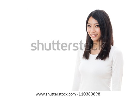 a young asian woman relaxing on white background