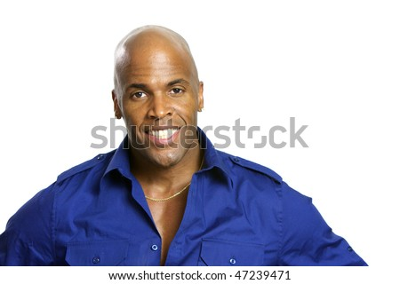 A young attractive African American Man with a Collared Shirt