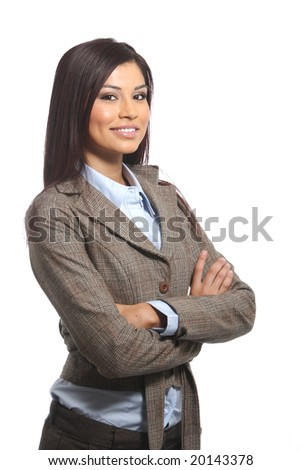 A young attractive business woman in the studio