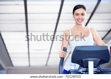 A young attractive girl engaged in fitness - stock photo