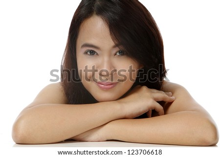 A young attractive woman smiling and relaxing