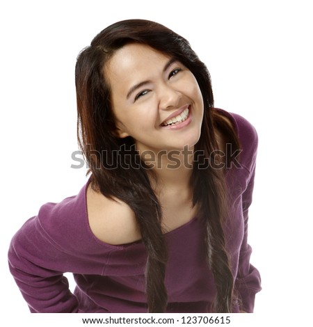 A young attractive woman with a big smile