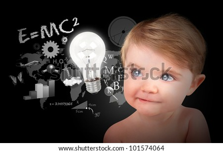 A young baby is looking at a light bulb with math, science and physics icons on a black background. Use it for a education or learning concept.