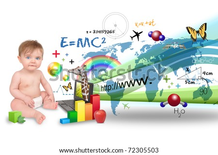 A young baby is on the computer learning about science, math and animals. There is a white background