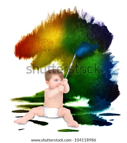 A young baby is painting colorful rough splatters on a white wall. Use it for an art education or artist concept.