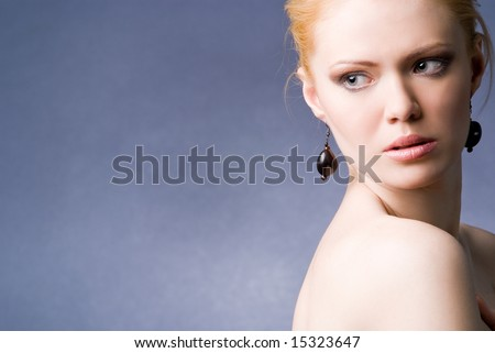 Young Beautiful Seducing Girl Studio Shot Stock