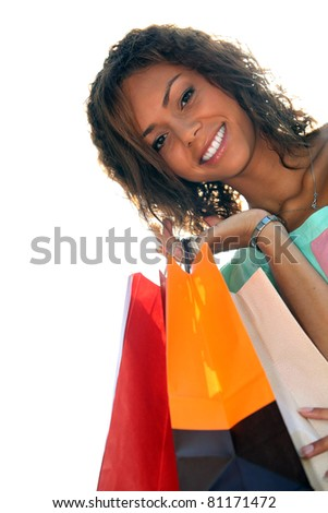 a young black woman with shopping bags