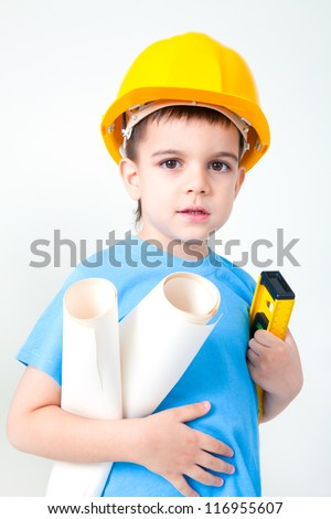 A young boy dreams of becoming a builder guy