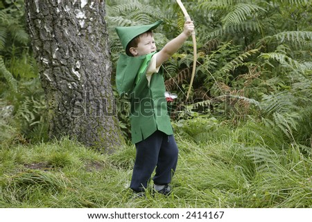 A young boy dressed up as Robin Hood