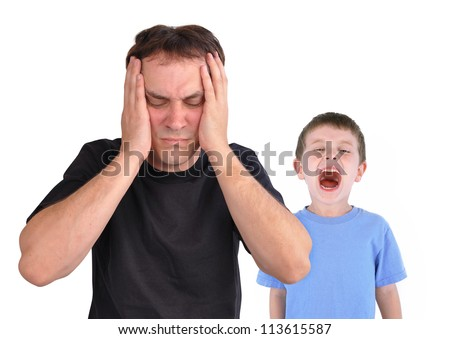 A young boy is screaming at his father in the foreground. The dad has his hands to his forehead and looks stressed from the problems of the child's conflict. There is a white background.