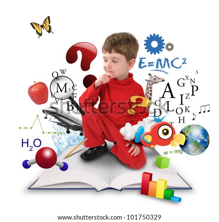 A young boy is sitting on a big with different science, math and physics icons around him on a white background. Use it for a school or learning concept.