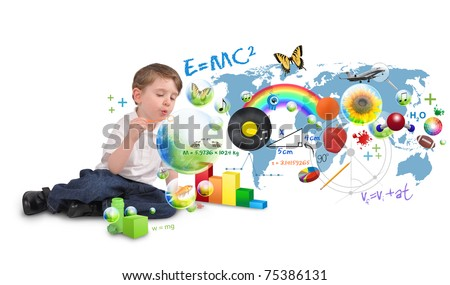 A young boy is sitting on a white isolated background blowing bubbles of science, nature, math and art. Use it for an education or creative concept. - stock photo