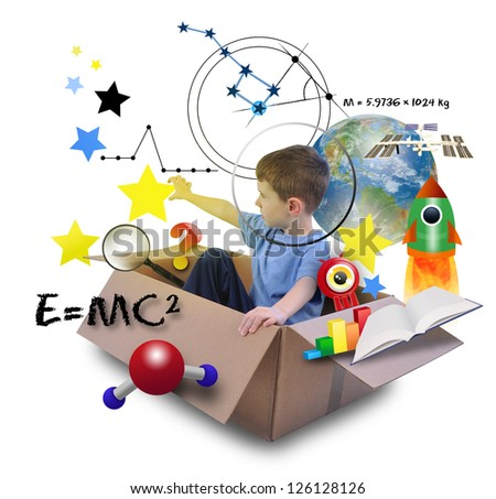 A young boy is using his imagination in a space box. He is an astronaut and grabbing stars in the sky with math and science icons.