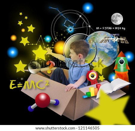 A young boy is using his imagine in a box imagining he is an astronaut in space and grabbing stars in the sky with math and science icons. Elements of this image furnished by NASA.