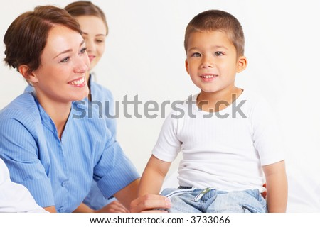 A young boy visiting the hospital for a ckeck-up