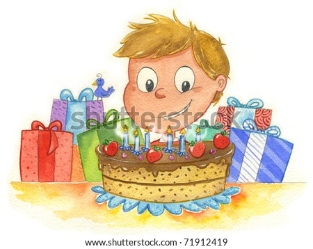 A young boy with a lot of colored gifts and a yummy birthday cake. On the cake there are six candles. Illustration hand made with watercolors.
