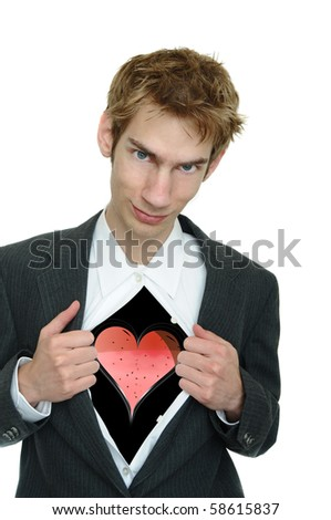 A young boyfriend in a business suit pulls open his clothing to reveal his heart with a smirk on his face.