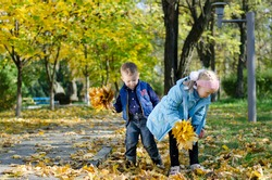 A young brother and sister having fun collecting autumn leaves standing on the grass amongst scattered leaves in a park with copyspace