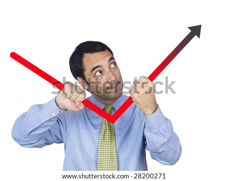 A young business man bending the chart with his own hands. Isolated on white.