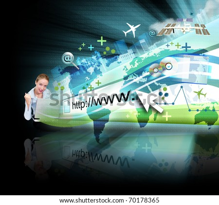 A young business woman is sitting on the ground with a laptop and an abstract internet address is popping out with a map and binary code. There are many objects coming out with a glow.