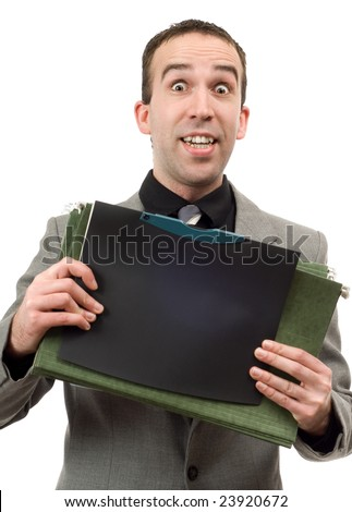 A young businessman holding a bunch of files, isolated against a white background
