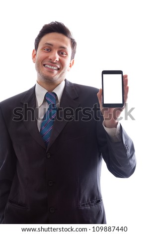 A young Businessman holding a smartphone with blank screen isolated on a white background