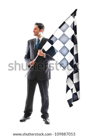A Young Businessman isolated on a white background holding a checkered flag