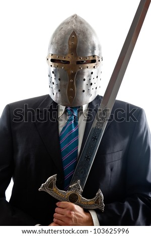 A Young Businessman isolated on a white background holding a steel sword and wearing an helm