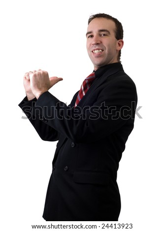 A young businessman pointing at himself like he's number one
