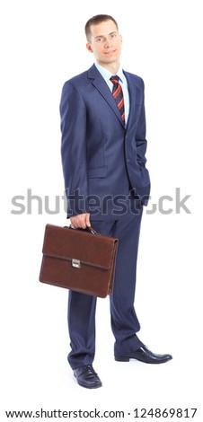 A young businessman with a portfolio.