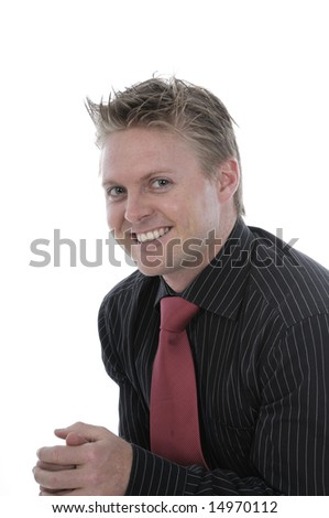 a young businessman with a red necktie