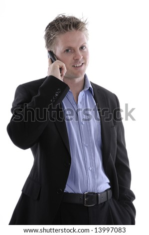 a young businessman with mobile phone