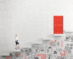 A young businesswoman going upstairs steadily, a red closed door in the wall at the top, business icons below the steps. White background. Concept of career growth.