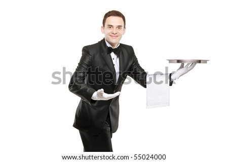 A young butler carrying an empty tray isolated on white background