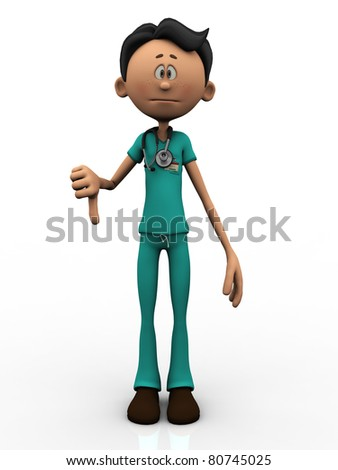 A young cartoon doctor, wearing a stethoscope, doing a thumbs down. White  background.
