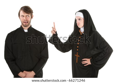 A young Catholic priest and nun bursting in laughter