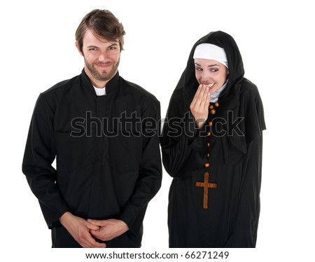 A young Catholic priest and nun on white background giggling