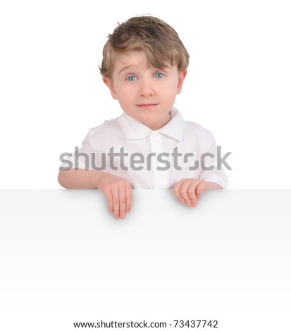 A young child is holding a blank, white message sign on an isolated, white background. Add your text.