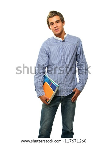 A young college guy with books, isolated on white background