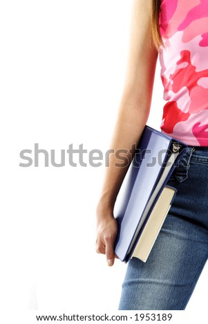 A young college student carrying books (isolated white)