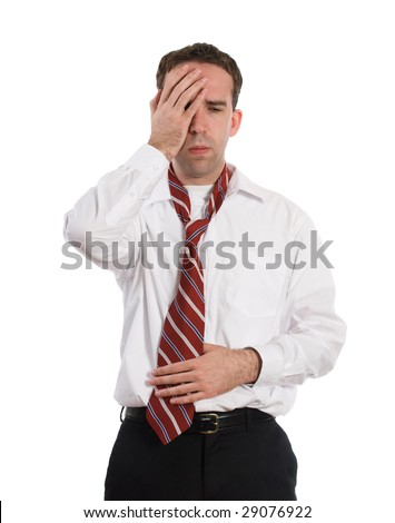 A young employee suffering from a stomach ache and a headache at the same time, isolated against a white background