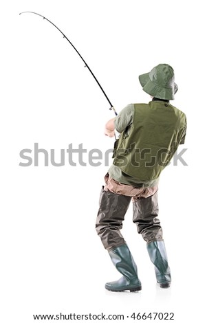 A young euphoric fisherman isolated on white background - stock photo