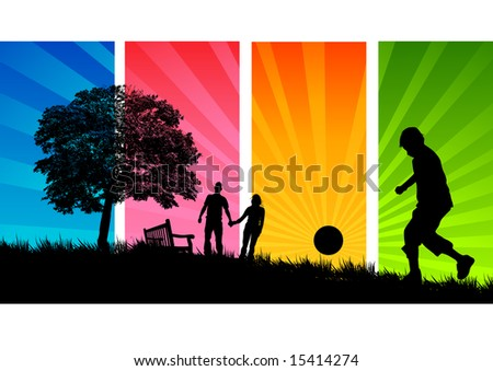 A Young family enjoy a walk through a park in summer.