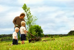 a young father and his two children are outside planting a Dawn Redwood Tree in their yard