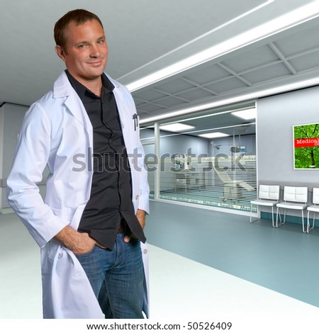 A young friendly doctor in a modern clinic